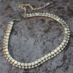 [5/$25]Vintage Gold Collar Choker Necklace Diamond